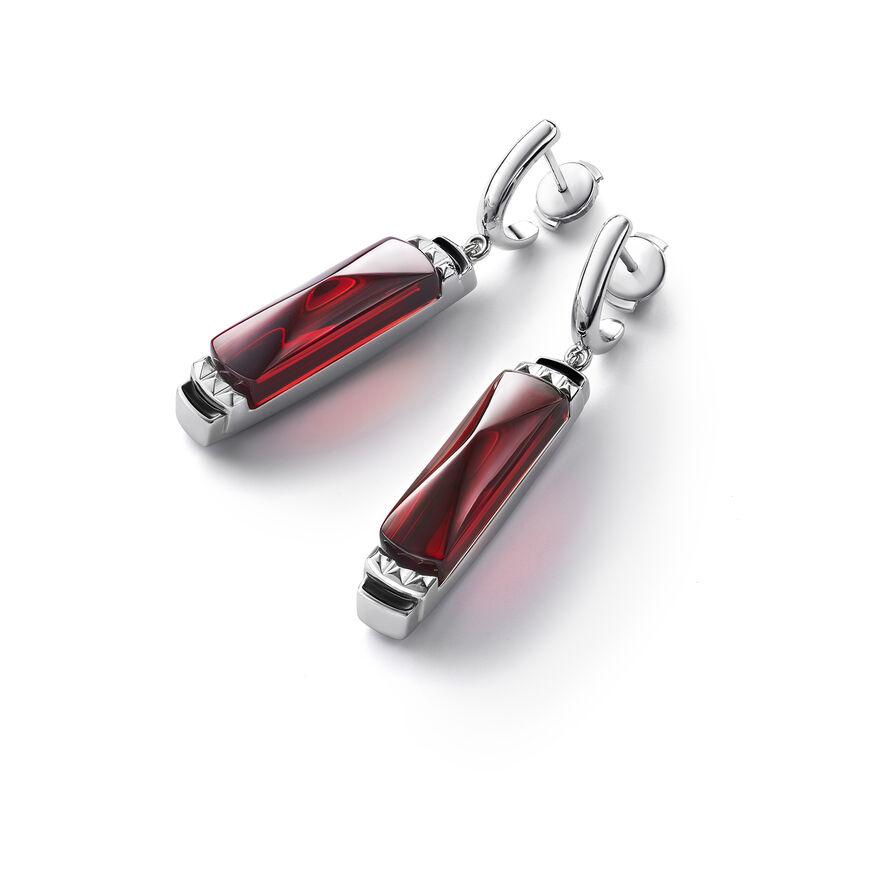 LOUXOR BOUCLES D'OREILLES, Rouge miroir