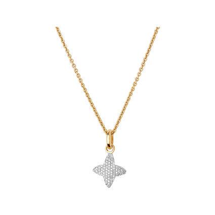 Splendour 18kt Yellow Gold Vermeil & Diamond Four-Point Star Necklace, , hires