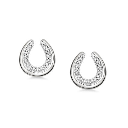 Ascot Diamond Essentials Sterling Silver Horseshoe Earrings, , hires