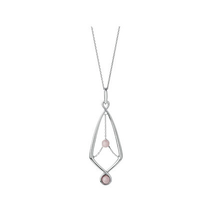 Serpentine Sterling Silver & Pink Opal Gemstone Pendant Necklace, , hires