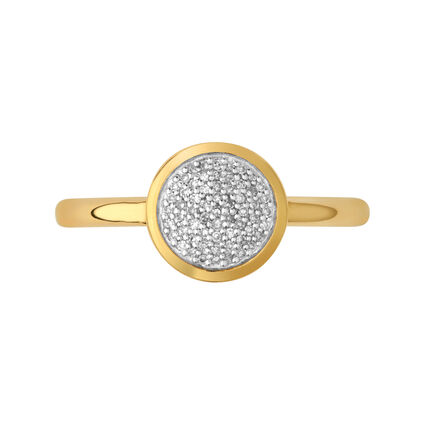 Diamond Essentials 18kt Yellow Gold Vermeil & Pave Round Ring, , hires