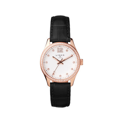 Greenwich Noon Womens Rose Gold Tone, Crystal & Black Leather Watch, , hires