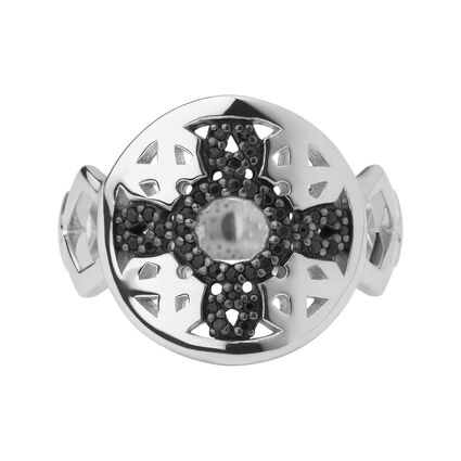Timeless Sterling Silver & Black Sapphire Ring, , hires