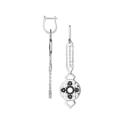 Timeless Sterling Silver & Black Sapphire Drop Earrings, , hires