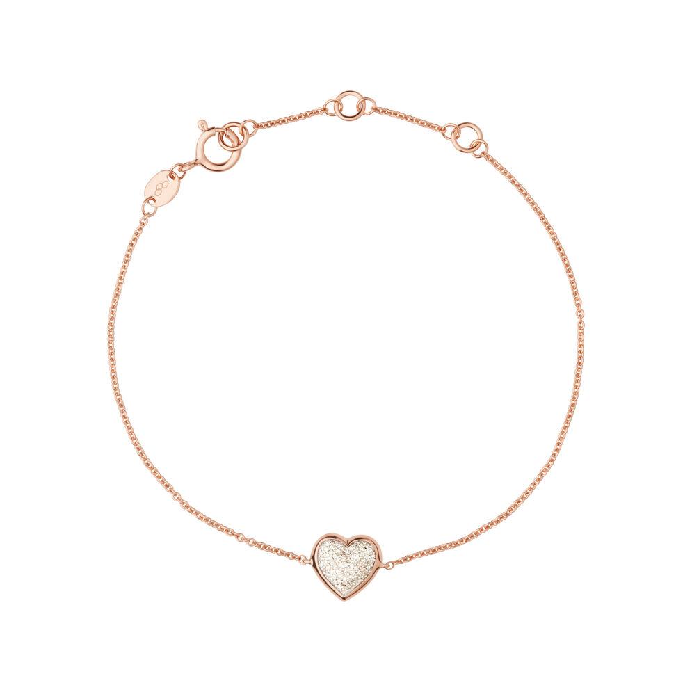 Diamond Essentials 18kt Rose Gold Vermeil & Pave Heart Bracelet, , hires