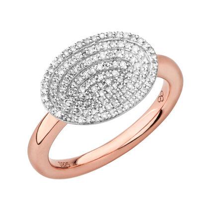 Concave 18kt Rose Gold Vermeil & Diamond Ring, , hires