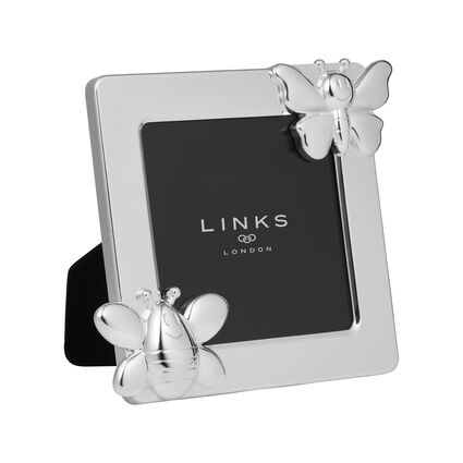 Little Friends Silver Plated Bee & Butterfly Frame, , hires