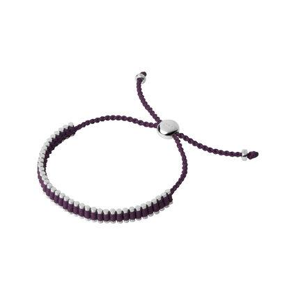 Sterling Silver & Plum Mini Friendship Bracelet, , hires