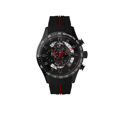 Skeleton Black & Red Rubber Strap Chronograph Watch, , hires