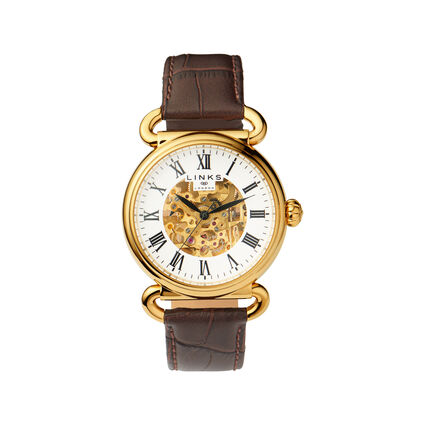Driver Mens Skeleton Automatic Gold Tone & Brown Leather Watch, , hires