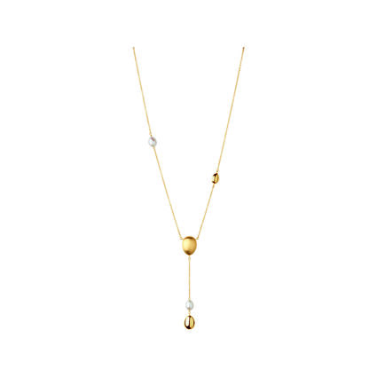 Hope 18kt Yellow Gold & Pearl Lariat Necklace, , hires