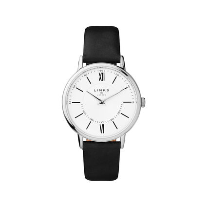 Noble Slim & Roman Stainless Steel White Dial & Black Leather Watch, , hires