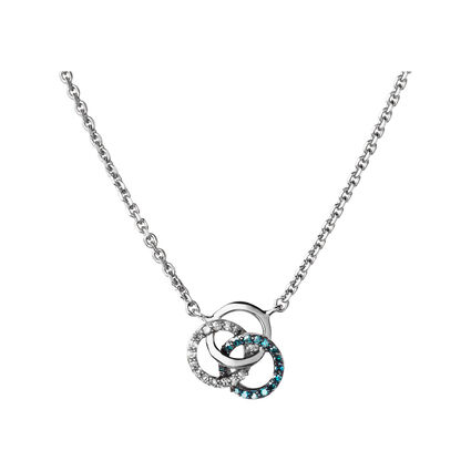 Treasured Sterling Silver, White & Blue Diamond Necklace, , hires