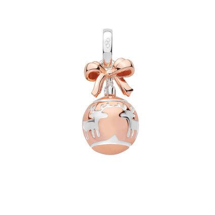 Sterling Silver & 18K Rose Gold Vermeil Reindeer Bauble Charm, , hires