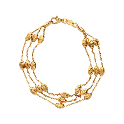 Essentials 18kt Yellow Gold Vermeil Beaded Chain 3 Row Bracelet, , hires