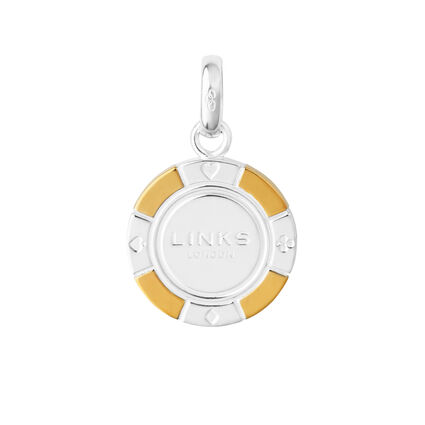 Sterling Silver & 18kt Yellow Gold Vermeil Poker Chip Charm, , hires