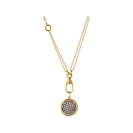Ascot 18kt Yellow Gold Vermeil & Black Mother Of Pearl Amulet Charm Necklace, , hires