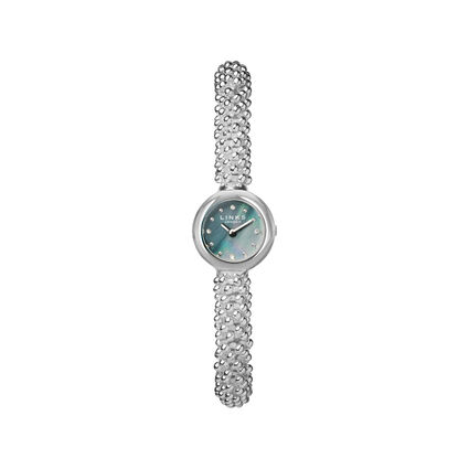 Effervescence Star Stainless Steel & Black Dial Sapphire Watch, , hires