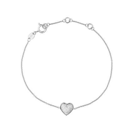 Diamond Essentials Sterling Silver & Pave Heart Bracelet, , hires
