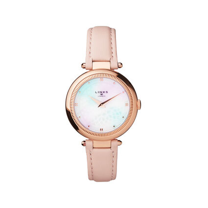 Timeless Rose Gold Tone, Mother of Pearl & Nude Leather Watch, , hires