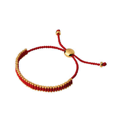 18kt Yellow Gold Vermeil & Ruby Red Mini Friendship Bracelet, , hires