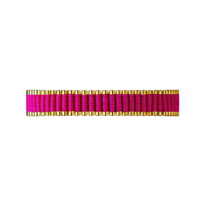 18kt Yellow Gold Vermeil & Hot Pink Cord Friendship Bracelet, , hires