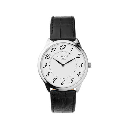 Narrative Stainless Steel & Black Leather Mens Watch, , hires