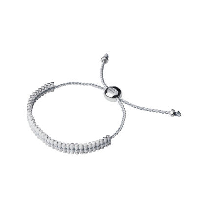 Sterling Silver & White Pewter Cord Mini Friendship Bracelet, , hires