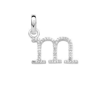Sterling Silver & Diamond M Alphabet Charm, , hires