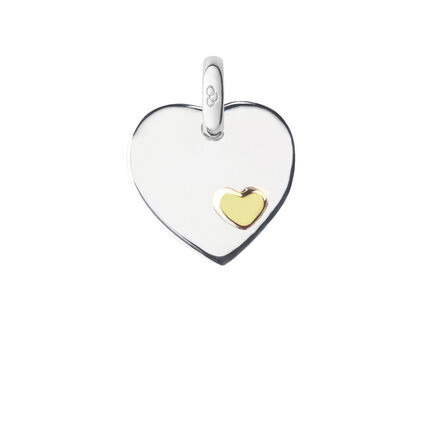 Sterling Silver Heart Disc Charm, , hires
