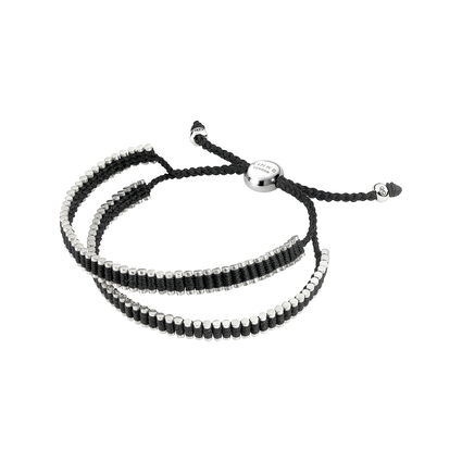 Friendship Mens Sterling Silver & Black Cord Double Wrap Bracelet, , hires