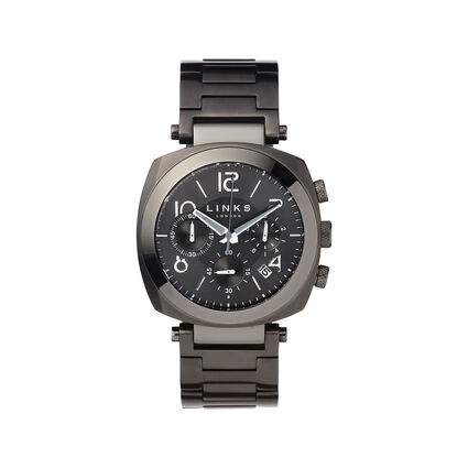Brompton Mens Black Stainless Steel Chronograph Bracelet Watch, , hires