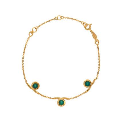 Serpentine 18kt Yellow Gold Vermeil & Green Chalcedony Gemstone Bracelet, , hires