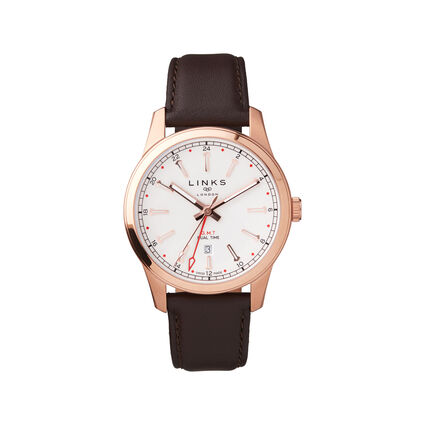 Greenwich GMT Mens Brown Leather Watch, , hires