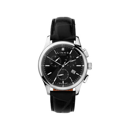 Regent Mens Black Dial Stainless Steel & Black Leather Chronograph Watch, , hires