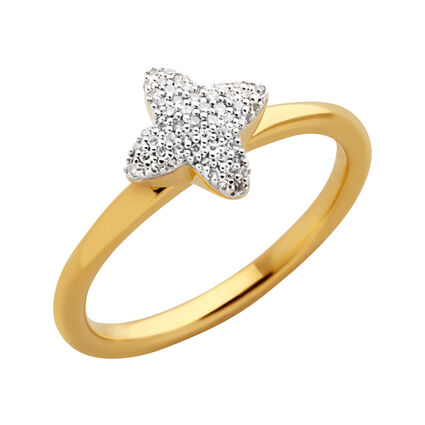 Splendour 18kt Yellow Gold Vermeil & Diamond Four-Point Star Mini Ring, , hires