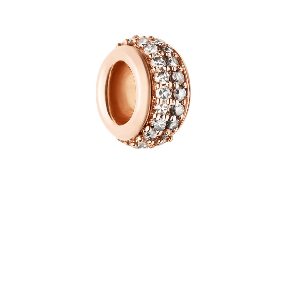 Sweetie 18kt Rose Gold Vermeil & Champagne Diamond Pave Bead, , hires