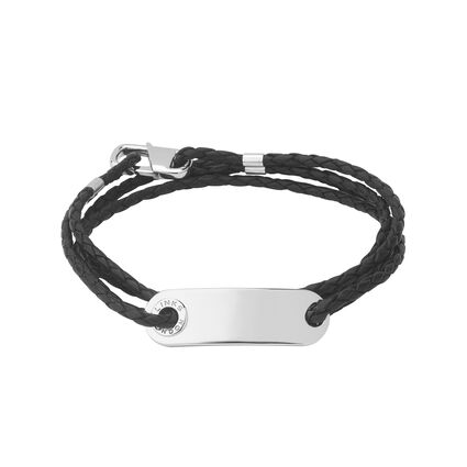 Soho Mens ID Bracelet with Leather Cord, , hires