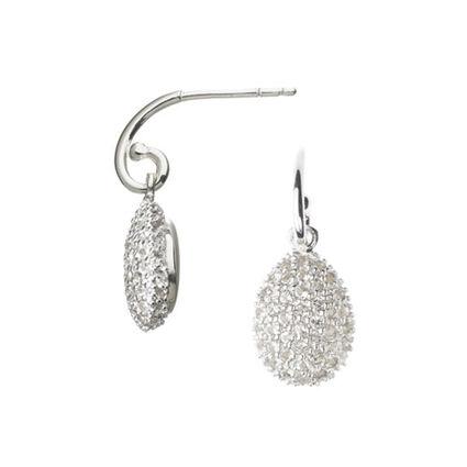 Hope Egg Sterling Silver & White Topaz Earrings, , hires