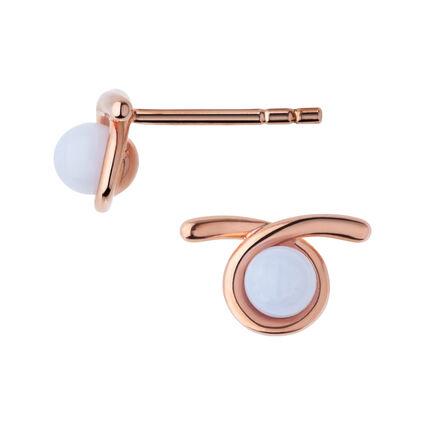 Serpentine 18kt Rose Gold Vermeil & Blue Lace Agate Gemstone Stud Earrings, , hires