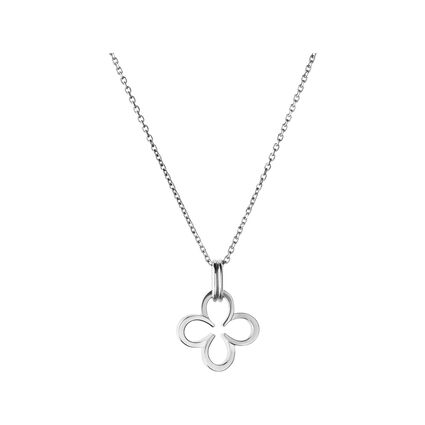 Ascot Sterling Silver Lucky Clover and Horseshoe Necklace, , hires