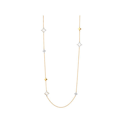 Splendour 18kt Yellow Gold Vermeil & Diamond Four-Point Star Necklace 100cm, , hires