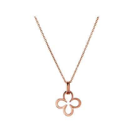 Ascot 18kt Rose Gold Vermeil Lucky Clover and Horseshoe Necklace, , hires