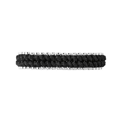 Friendship Mens Sterling Silver & Black Cord Rope Bracelet, , hires
