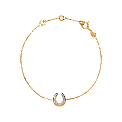 Ascot Diamond Essentials 18kt Yellow Gold Vermeil Horseshoe Bracelet, , hires
