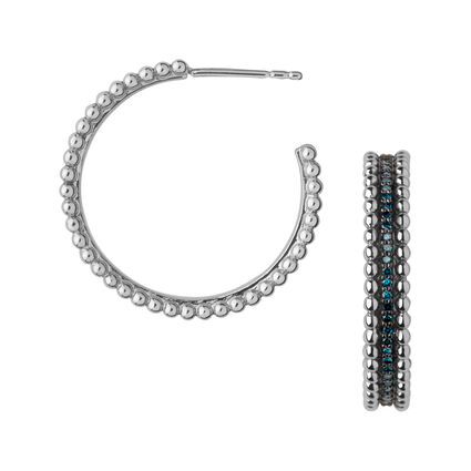 Effervescence Sterling Silver & Blue Diamond Hoop Earrings, , hires