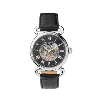 Driver Mens Skeleton Automatic Stainless Steel & Black Leather Watch, , hires