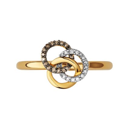 Treasured 18kt Yellow Gold Vermeil, Champagne & White Diamond Ring, , hires