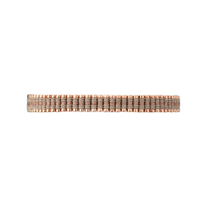 18kt Rose Gold Vermeil & Taupe Cord Mini Friendship Bracelet, , hires