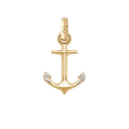 18kt Yellow Gold & Diamond Anchor of Hope Charm, , hires